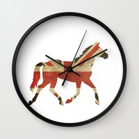 british Wall Clocks featuring British Horse by sreysa'art