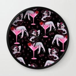 Cherry Martini Girl Wall Clock
