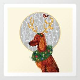 Irish Setter Christmas Art Print
