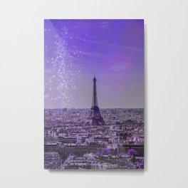 Paris Mon Amour Purple Mixed Media Art Metal Print
