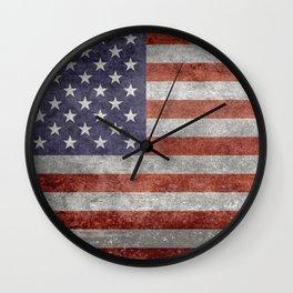 US Flag in Retro Grunge Wall Clock