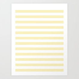 Narrow Horizontal Stripes - White and Blond Yellow Art Print