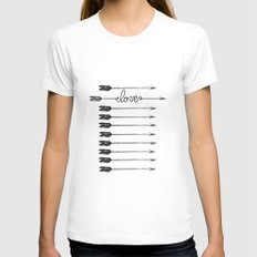 Love Arrows LARGE Womens Fitted Tee White