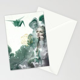 Emerald Paper Cranes Stationery Cards