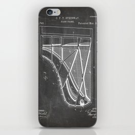 Steinway Piano Patent - Piano Player Art - Black Chalkboard iPhone Skin