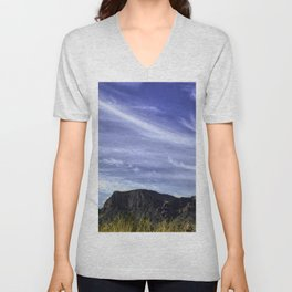Desert Sky with mountains and Bluebonnets Unisex V-Neck