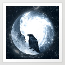 The crow and its Moon. (bcn art version) Art Print