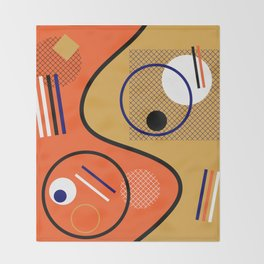 Opposing Sides - Abstract, orange and mustard, geometric, contrasting design Throw Blanket
