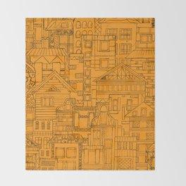 Houses - orange Throw Blanket