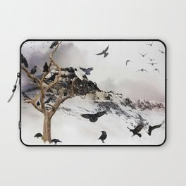 Crow Tree On A Snowy Mountain Laptop Sleeve