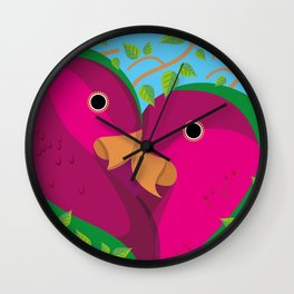 Tropical Lovebirds Wall Clock