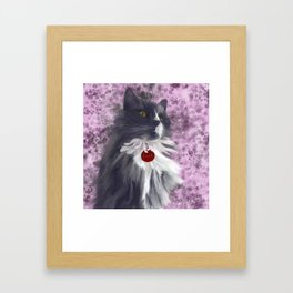 Fluffy Grey Kitty Framed Art Print