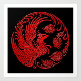 Traditional Red and Black Chinese Phoenix Circle Art Print