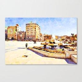 Square with fountain of Aleppo Canvas Print