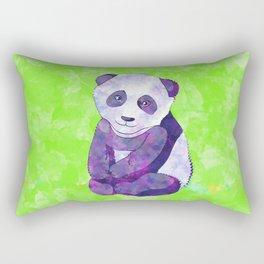 Cute  Purple Panda Bear  on green Rectangular Pillow