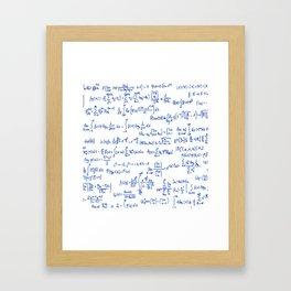 Blue Math Equations Framed Art Print