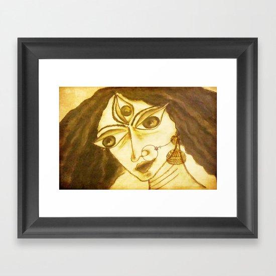 Divine Series 5 : Durga in charcoal Framed Art Print