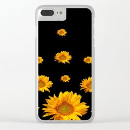 RAINING GOLDEN YELLOW SUNFLOWERS BLACK COLOR Clear iPhone Case