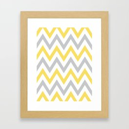Gray & Yellow Chevron Framed Art Print