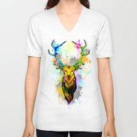 popart V-neck T-shirts featuring Deer PopArt Dripping Paint by BluedarkArt