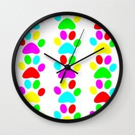 Colourful footprints. Wall Clock