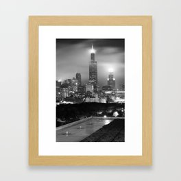 Chicago Skyline from the Rooftop - Black and White Framed Art Print