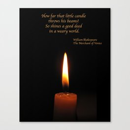Shakespeare Candle Flame Canvas Print
