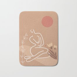 Woman in Nature Illustration Bath Mat