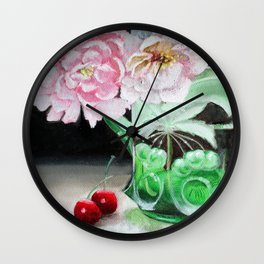 Cherry Blossoms in Green Glass Wall Clock