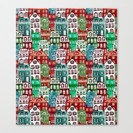 Christmas Village in Watercolor Red + Green Canvas Print