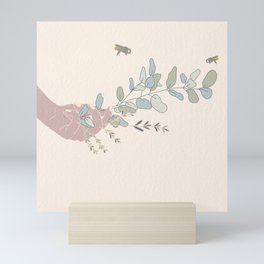Peace Offering // Hand with Plants // Plants and Bees // Hand and Bees // Neutral Color Plants Mini Art Print