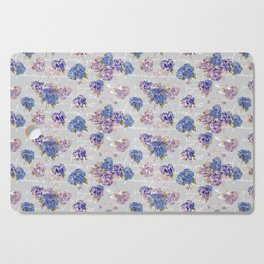 Hydrangeas and French Script with birds on gray background Cutting Board