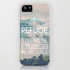 Typographic Motivational Bible Verses - Psalm 46:1 iPhone (5, 5s) Slim Case