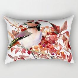 Waxwing and Berries Rectangular Pillow