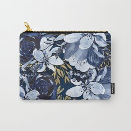 Navy Blue & Gold Watercolor Floral Carry-All Pouch