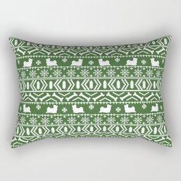 Biewer Terrier fair isle christmas green and white pattern minimal dog breed pet designs Rectangular Pillow
