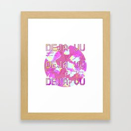 Vaporwave Japanese 1980s Aesthetic Deja Vu Text T Shirt Framed Art Print