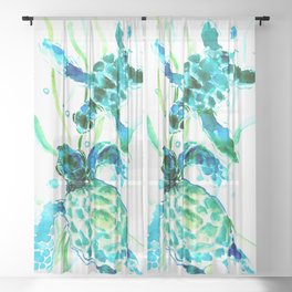Sea Turtles, Turquoise blue Design Sheer Curtain