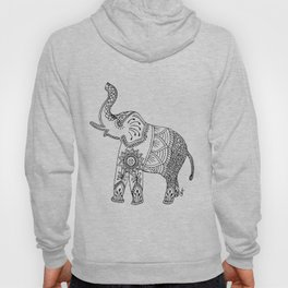 Elephant Drawing in black and white, mehndi style. Hoody