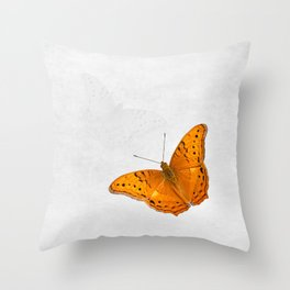Butterfly and ghost on textured white Throw Pillow