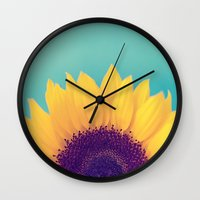 sunflower Wall Clocks featuring Sunflower by Debbie Wibowo