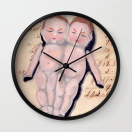 Vintage Bisque Conjoined Twins in Gouache Wall Clock