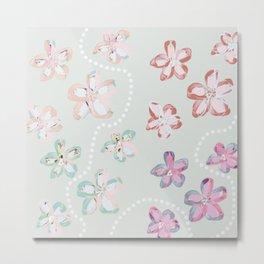 Pink Flower Trail Metal Print