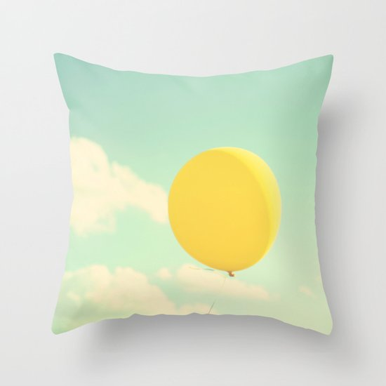 yellow balloon Throw Pillow