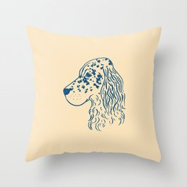 English Setter (Beige and Navy) Throw Pillow