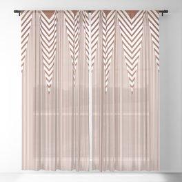 Art Deco Geometric Arrowhead Dusty Peach Design Sheer Curtain