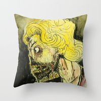 zombies Throw Pillows featuring zombies by Marcelo O. Maffei