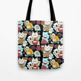 Super Lucky Pattern in Black Tote Bag