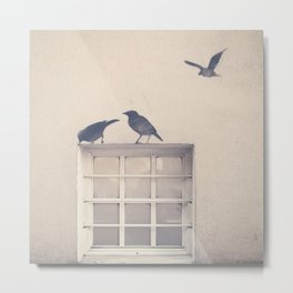 Let me be a bird in your window - vintage retro, beige cream, urban, black and white photography Metal Print