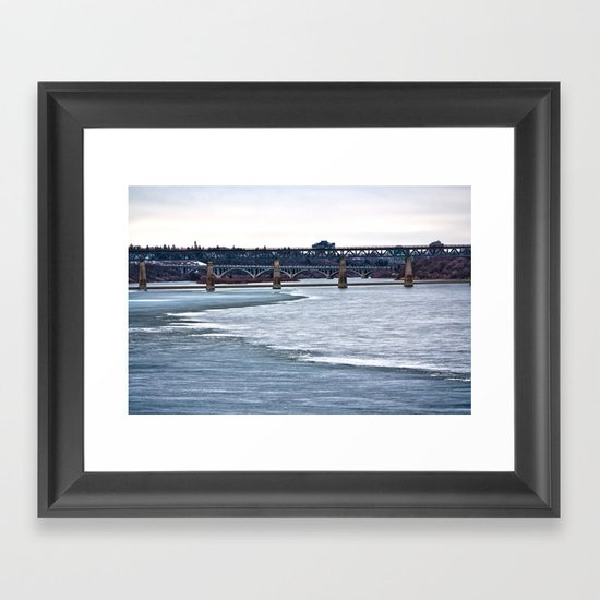 Bridges on the Icy River Framed Art Print
